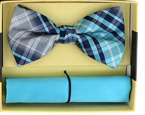 30c2f351a3da MEN'S YELLOW PLAID COTTON BOW TIES & MATCHING POCKET SQUARE CBTH1731 ...